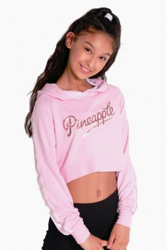 PINEAPPLE DANCEWEAR GIRLS Mesh Long Sleeved Crop Hoodie Pink Foil Pineapple Logo